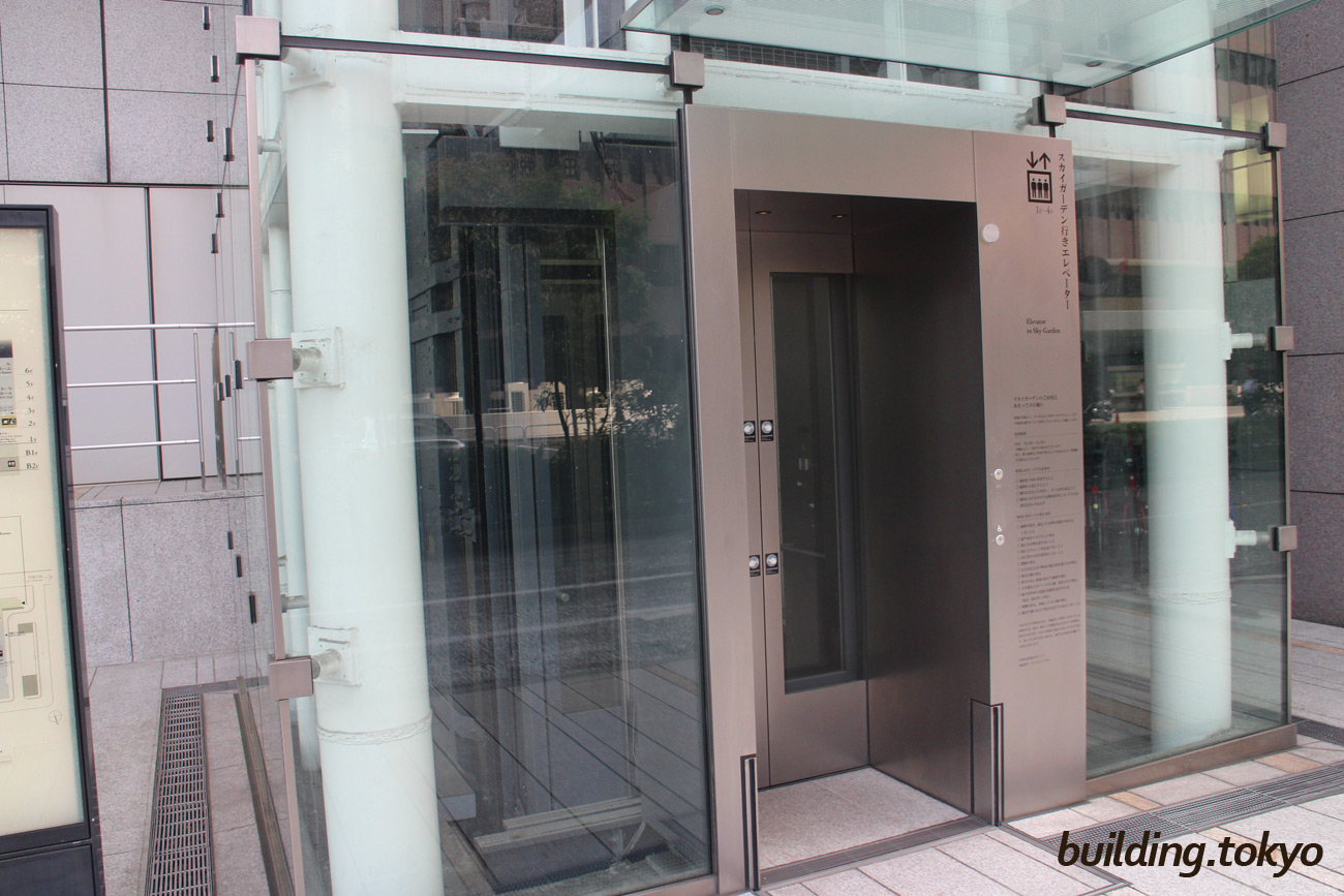 JAビル、スカイガーデン。4Fスカイガーデン直通のエレベーターで上がります。