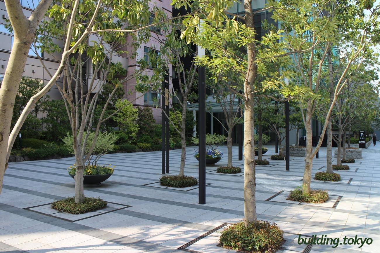 住友不動産西新宿ビル。エントランスまでの道には木々があって、空気が綺麗に感じます。