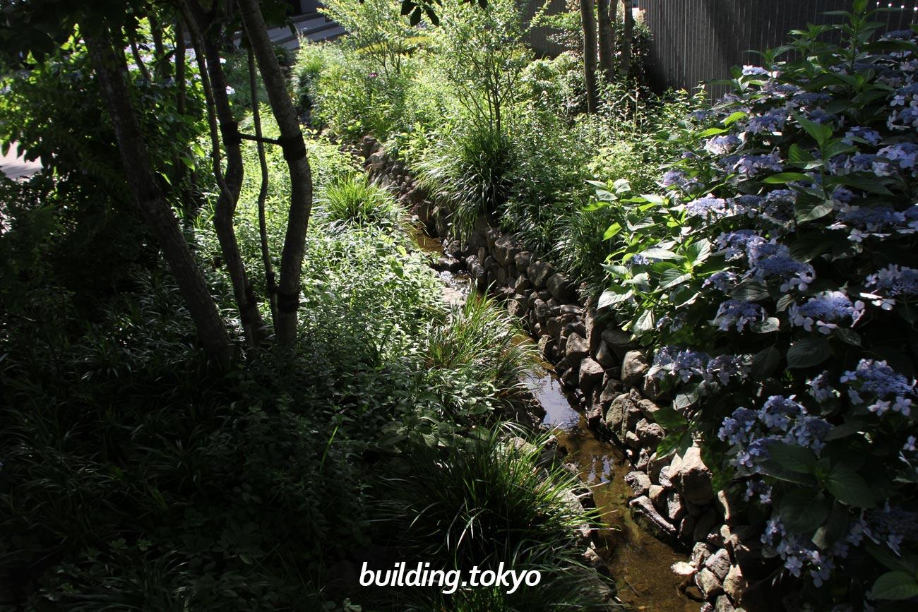 としまエコミューゼタウン「豊島の森」、小川が流れています。